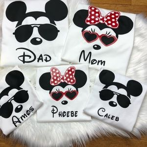 Other - Custom Name Family mickey and Minnie tops